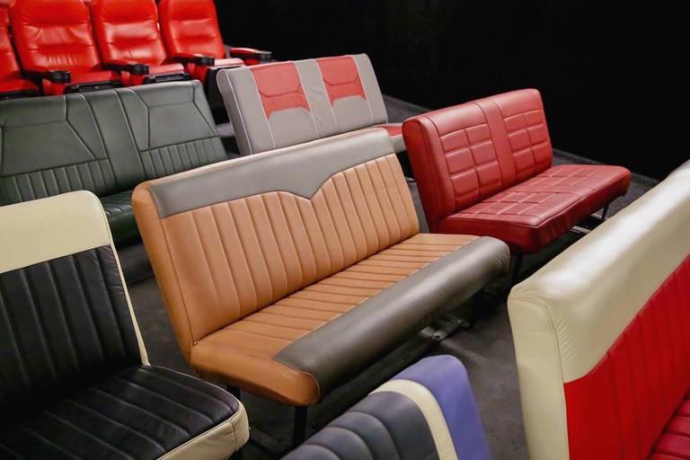 Movie seats at the Belas Arte Drive-In, São Paulo