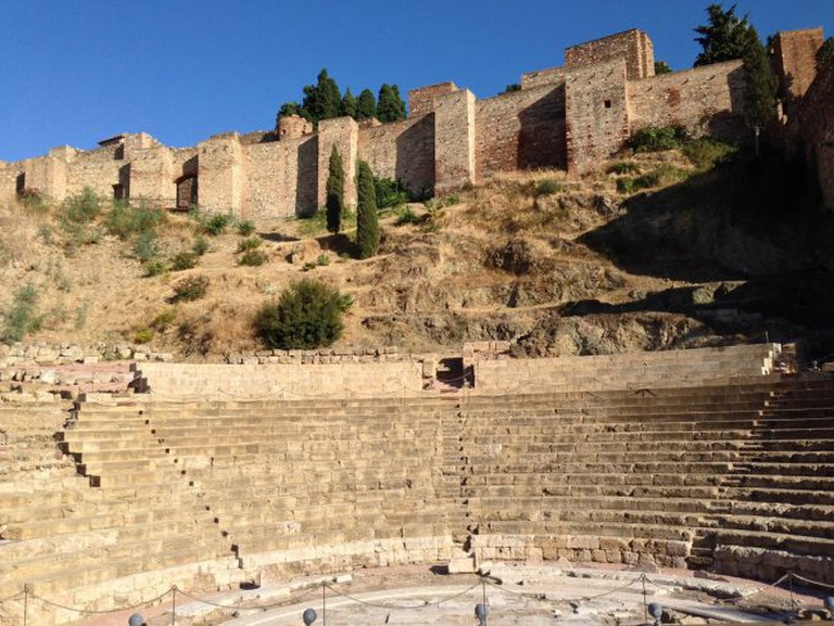 """<a href=""""https://www.flickr.com/photos/andynash/"""">Málaga's Roman theatre sits at the bootom of the Alcazaba fort 