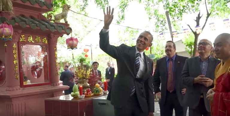 The US President Barack Obama visited the Emperor Jade Pagoda in 2016