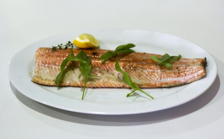 Cardue's trout, in classic Patagonian preparation | Courtesy of Carhue