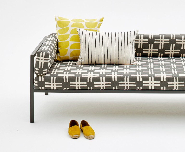 Couch upholstered in Skinny laMinx fabric