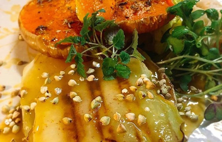 Grilled cabbage, pumpkin with ginger, beans and more