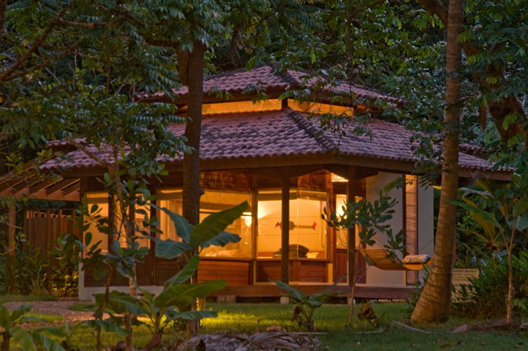 Bungalow outside view at night