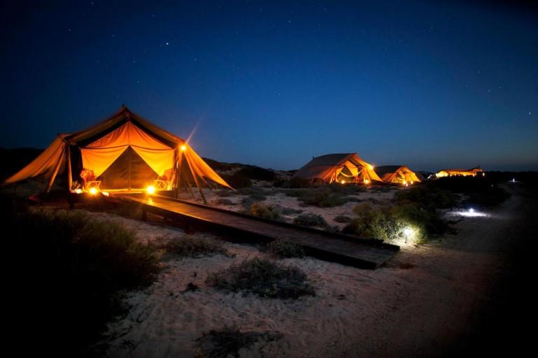 Sal Salis Ningaloo Reef glamping tents at night