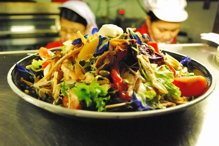 A fresh salad at Sharky's in Yangon