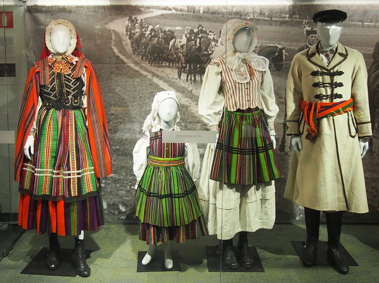 Clothing on display at the National Ethnographic Museum in Warsaw