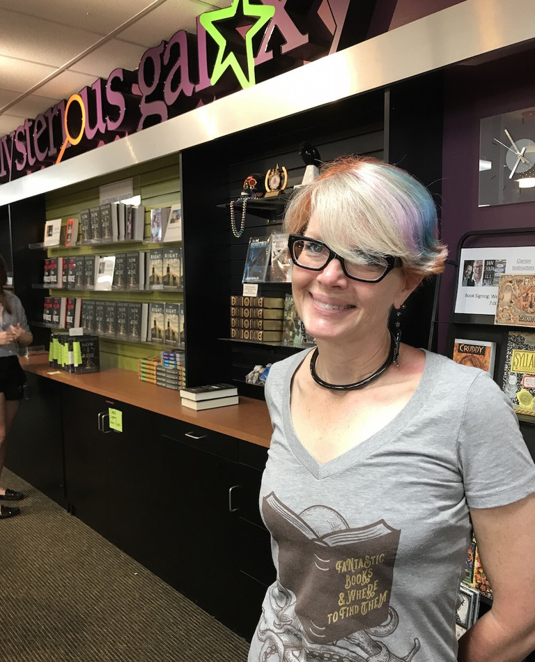 Owner Maryelizabeth Yturralde at Mysterious Galaxy Bookstore