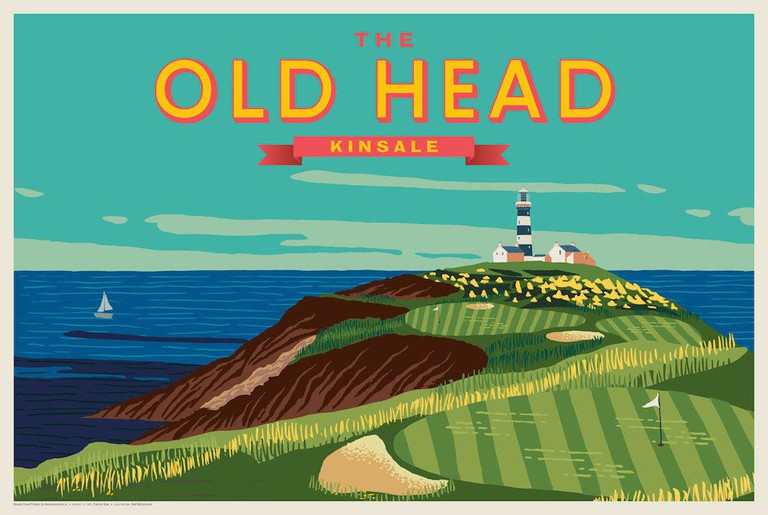 Vintage style print of the Old Head of Kinsale by The Canvasworks | Courtesy of The Canvasworks