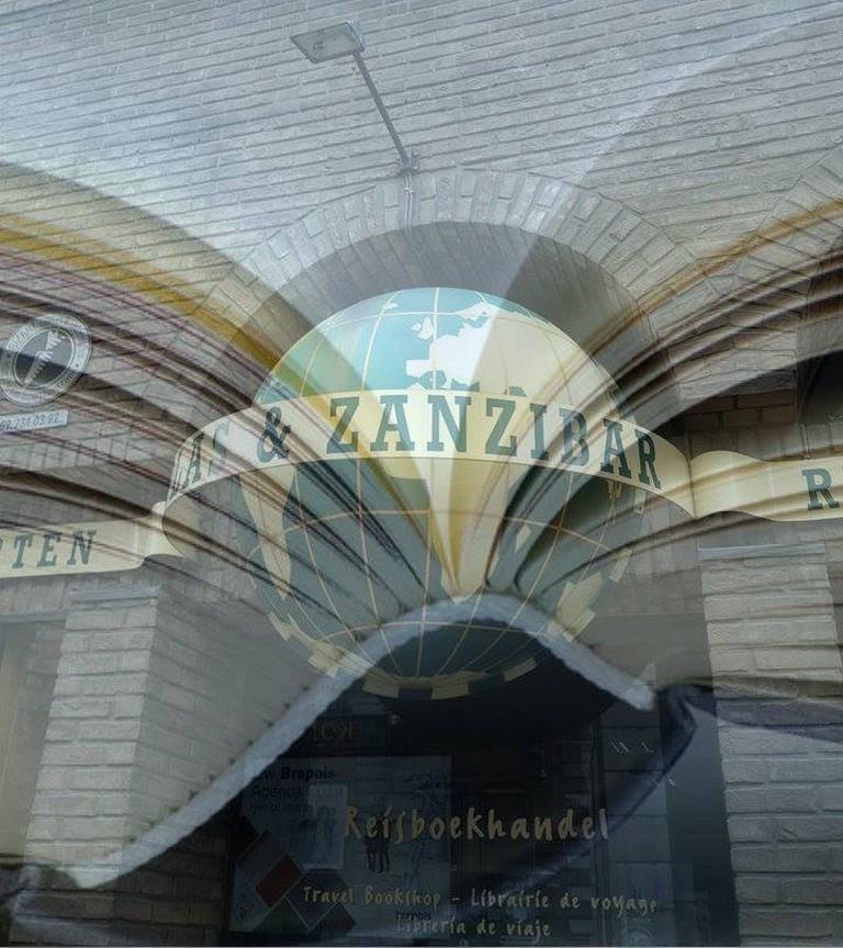The entrance to Atlas & Zanzibar, travel bookshop and map heaven