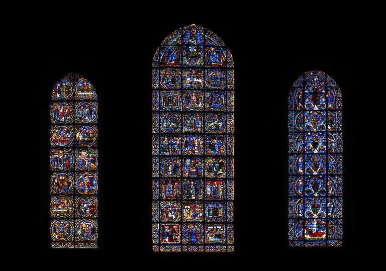 Stained-glass windows at the Chartres Cathedral