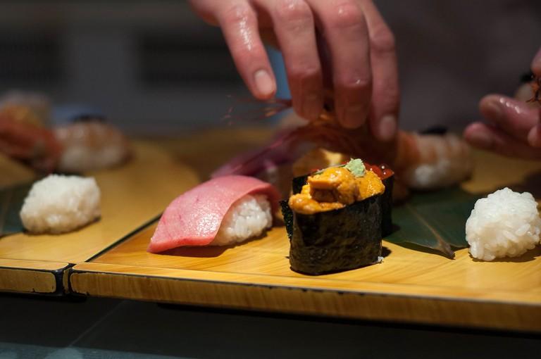 Making sushi at Midori Sushi