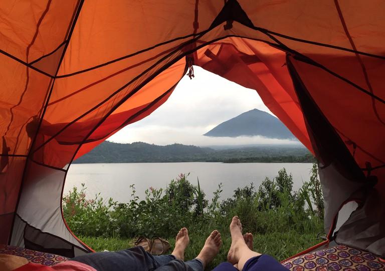 Camping on Lake Burera
