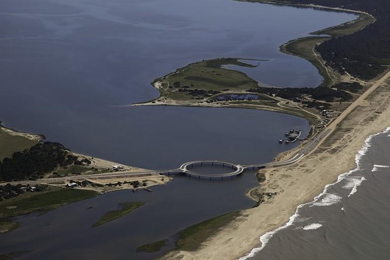 Bridge crossing Garzón Lake next to the Ocean, Maldonado, Uruguay