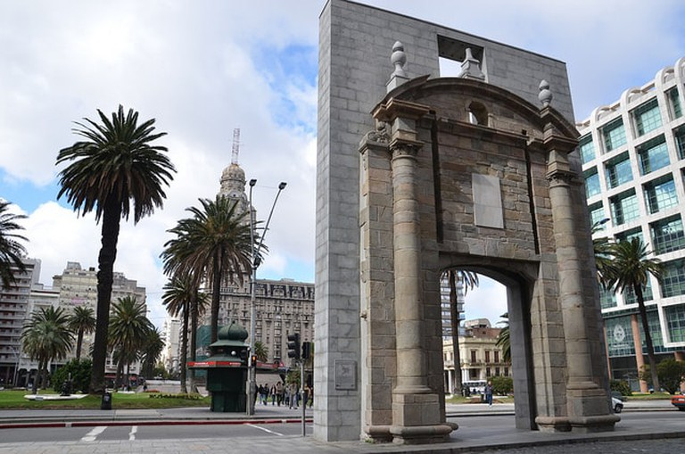 Old City gate in front of Independence Square, Montevideo, Uruguay