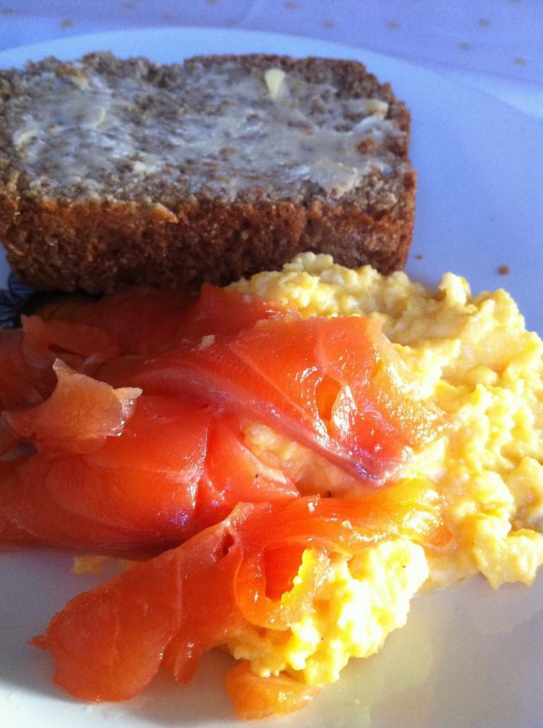 Smoked salmon and creamy scrambled eggs