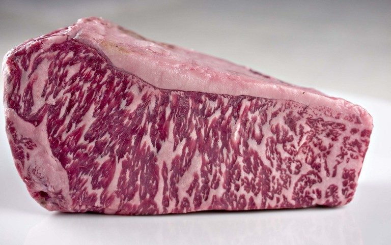 The tell-tale marbling of Wagyu beef