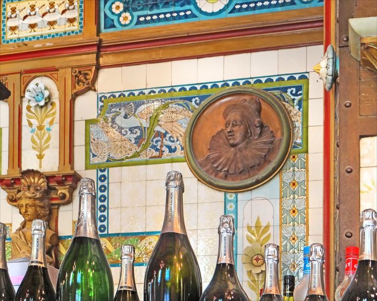 The ornate tiling behind the Art Nouveau bar at La Cigale