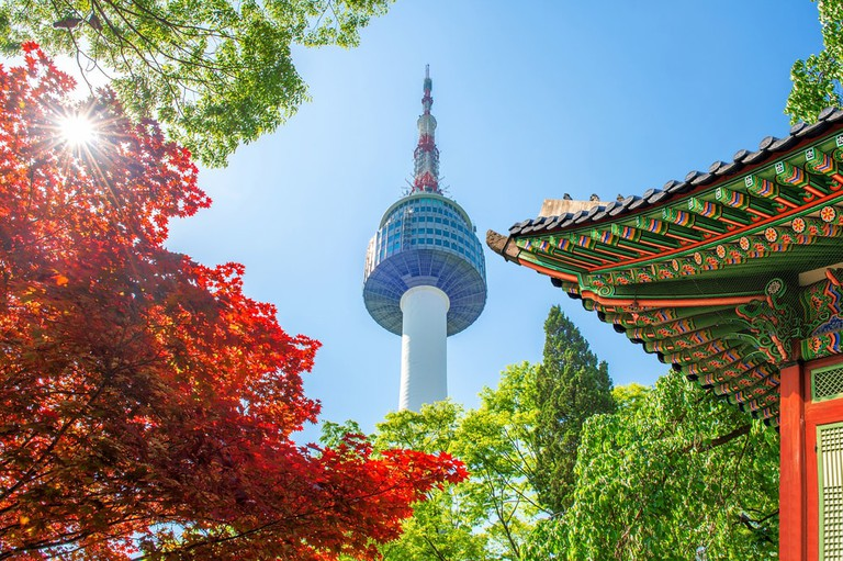 Seoul Tower And Gyeoongbokgung Roof, Mt. Namsan, South Korea