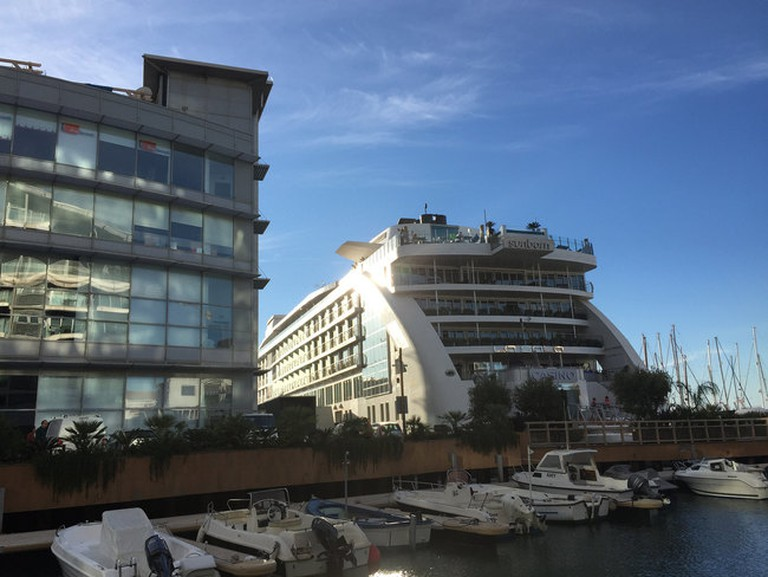 The yacht-hotel Sunborn is permanently moored in Gibraltar's Marina Bay