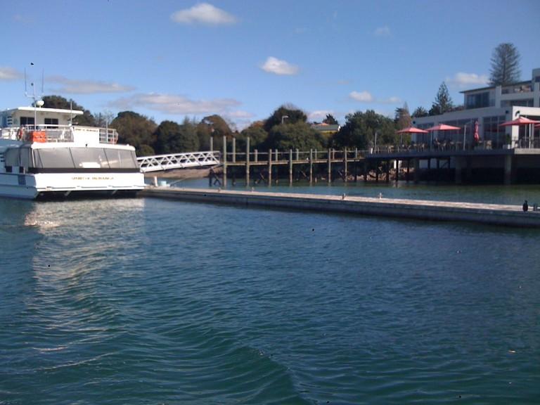 View of the Tauranga Harbour Outside the Trinity Wharf Hotel