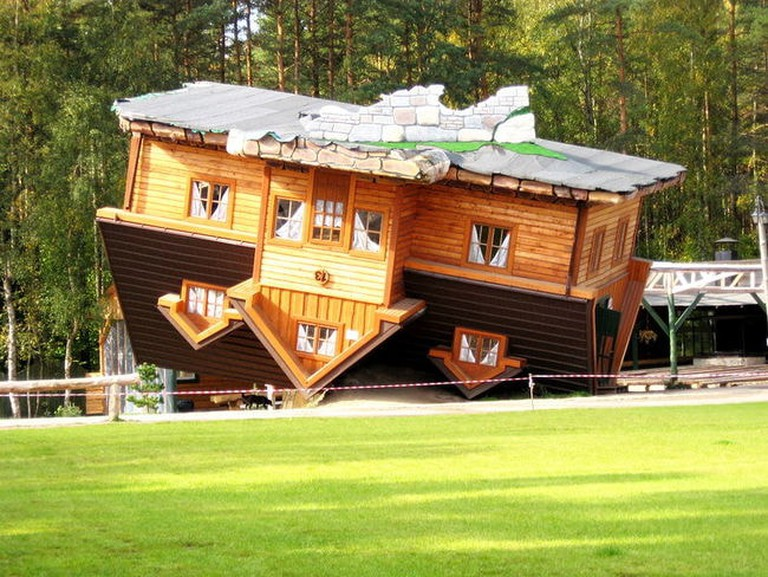 An_'upside-down_house'_in_open-air_museum,_Szybmark,_Poland.