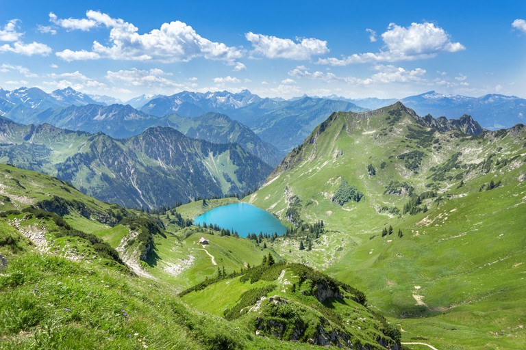 Lake Seealpsee in the mountain landscape of the Allgau Alps above of Oberstdorf, Germany