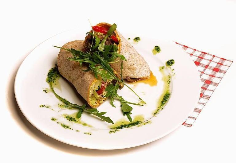 Vegetarian wrap at Pygmalion Økocafe & Galleri