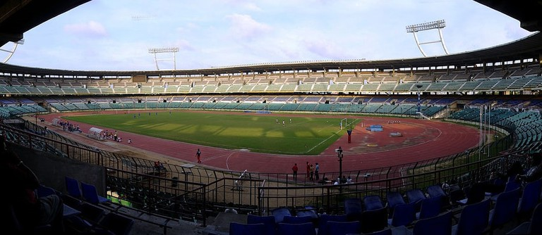 The Jawaharlal Nehru Stadium in Chennai being prepped for a match