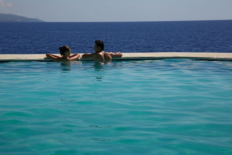 Infinity pool with direct view of mainland Cebu