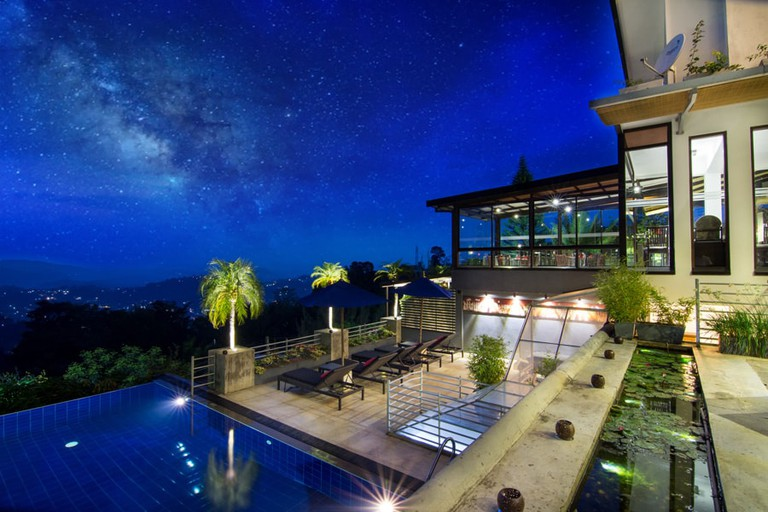 The view from the pool and courtyard