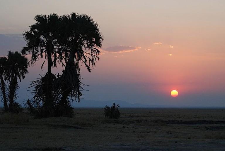Sunset on the banks of Lake Rukwa