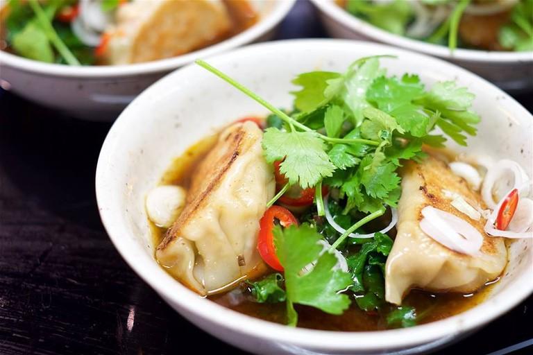 A dumpling dish at The Golden Chimp