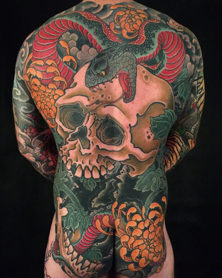 Back tattoo by Alex Rusty | © Alex Rusty:Courtesy of Lighthouse Tattoo