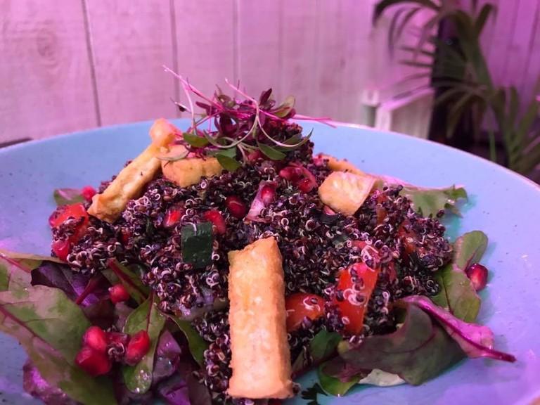 Black quinoa tofu salad