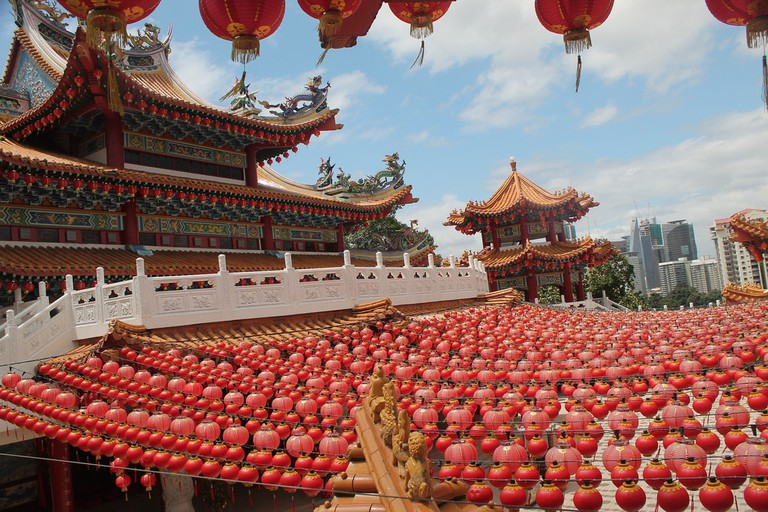 The majestic Thean Hou Temple with red lanterns, Kuala Lumpur