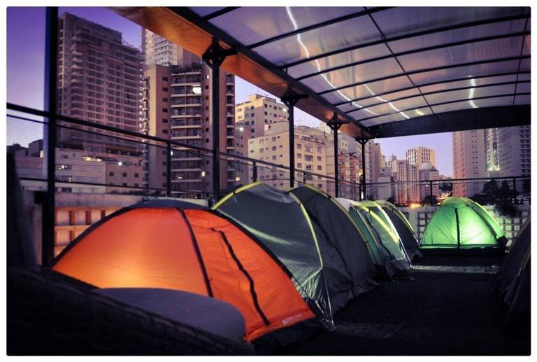 Urban camping at Aki Hostel, São Paulo