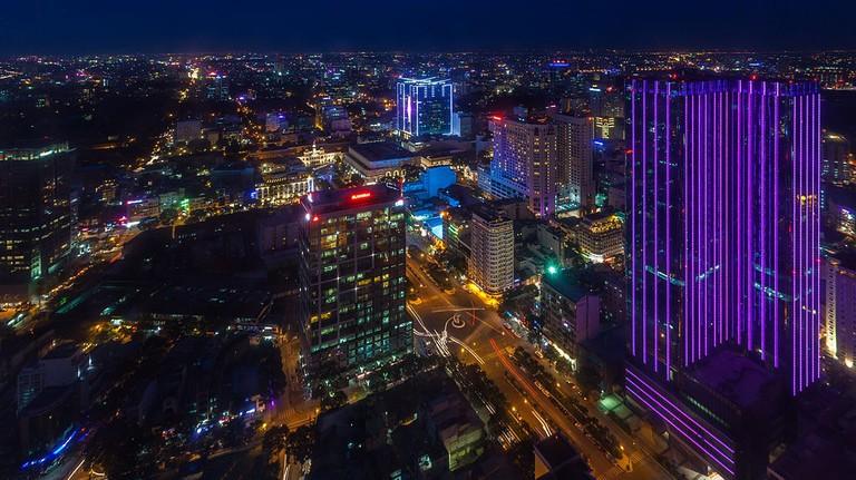 Saigon's endless sprawl viewed from the Eon Heli Bar