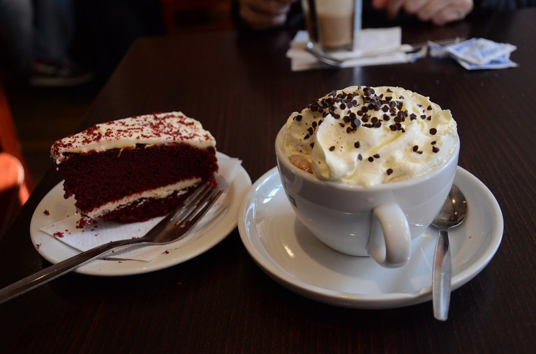 Red velvet cake and hot chocolate