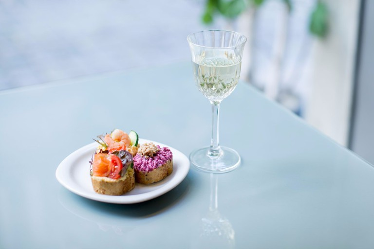 A lovely light lunch and a glass of wine