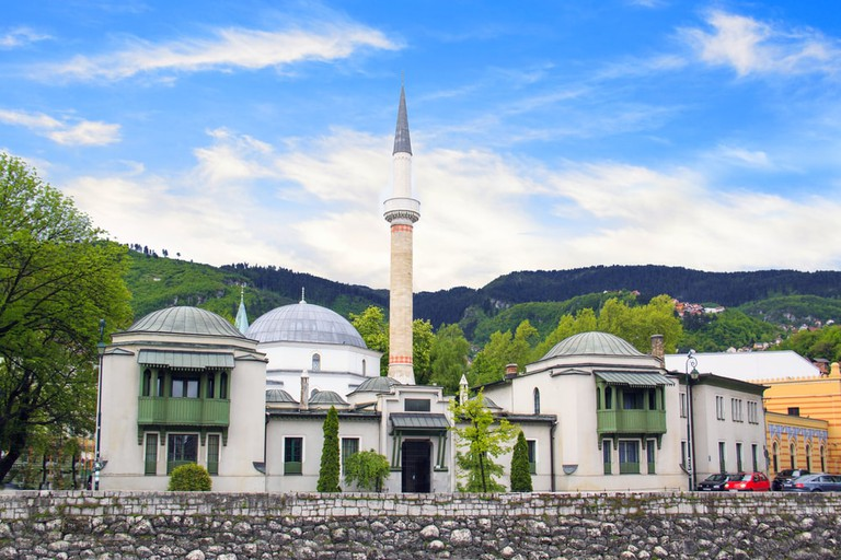 Beautiful view of the Emperor's Mosque in Sarajevo on the banks of the Milyacka River