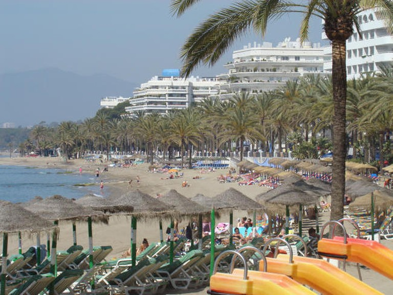 Marbella's main beach is just a five minute walk from Hostal Berlina