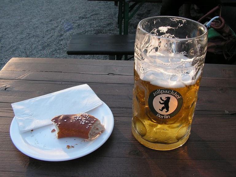Beer and pretzel at Zollpackhof Biergarten