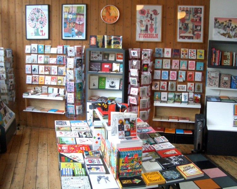 HERE's books and artwork display