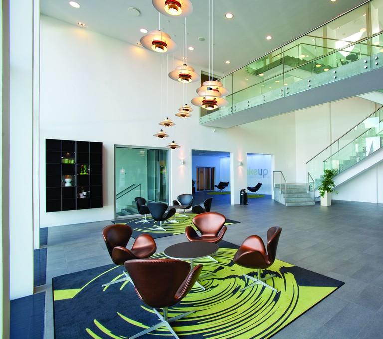 The common spaces at Wakeup Copenhagen's Borgergade location include Danish design elements