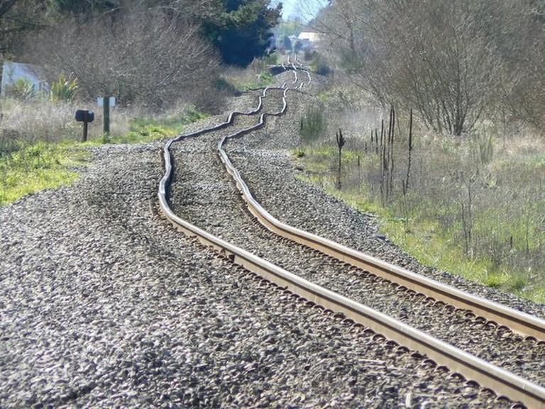 Post-Earthquake Warped Train Tracks