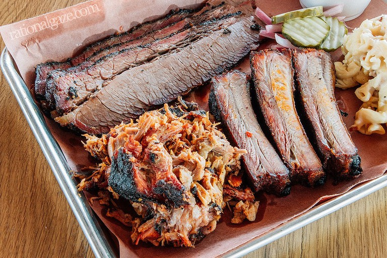 A Three Meat Combo | Courtesy of Woodpile BBQ Shack