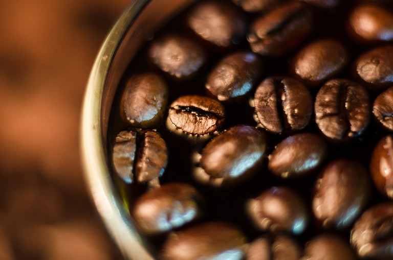 Close-up shot of coffee beans