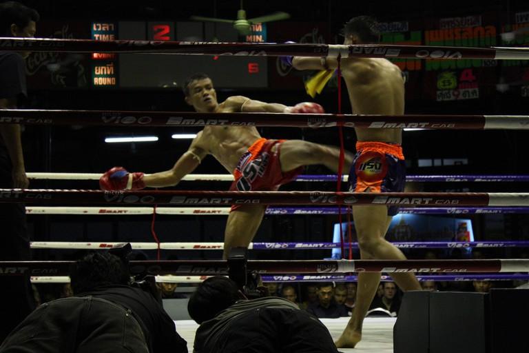 Ringside view at Lumpinee Boxing Stadium, Bangkok