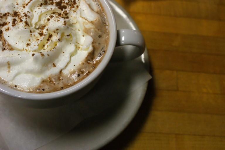 Drinking chocolate with cream
