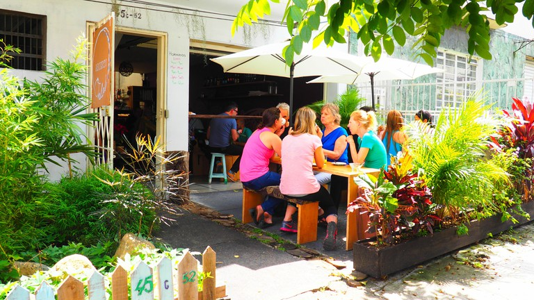 Enjoying a coffee and a chat at Cafe Ondas